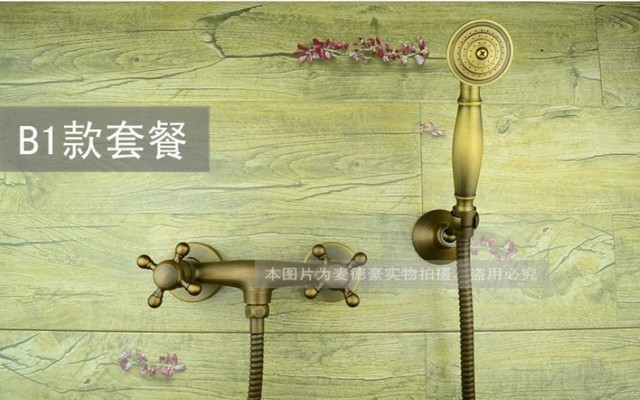 Free shipping antique Oil Rubbed Bronze Wall Mount Telephone Shower Bath Tub faucet Mixer Tap Double Cross Head Handle