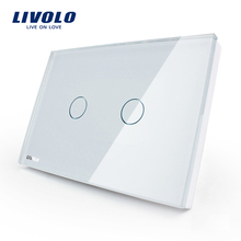 Manufacturer, LIVOLO Wall Switch, 110~250V, Ivory White Glass Panel, 2-gang, US Touch Light Switch VL-C302-81 with LED indicator(China (Mainland))