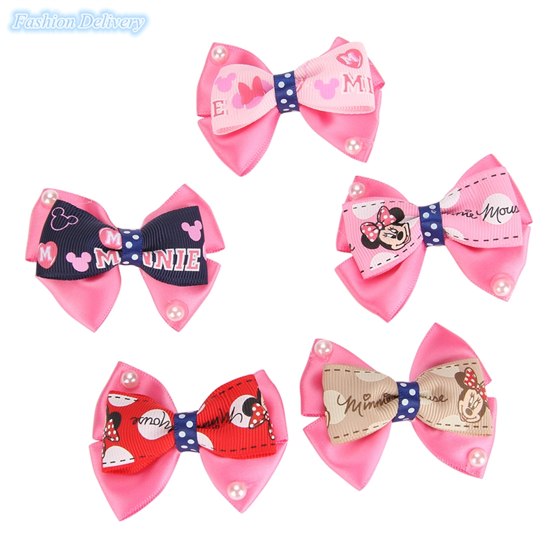 10pcs/lot Cute Mickey Hairpins Lace Bow-knot Pearl Hair Clips Girls Hair Styling Decorations Kids Lovely Trinkets(China (Mainland))