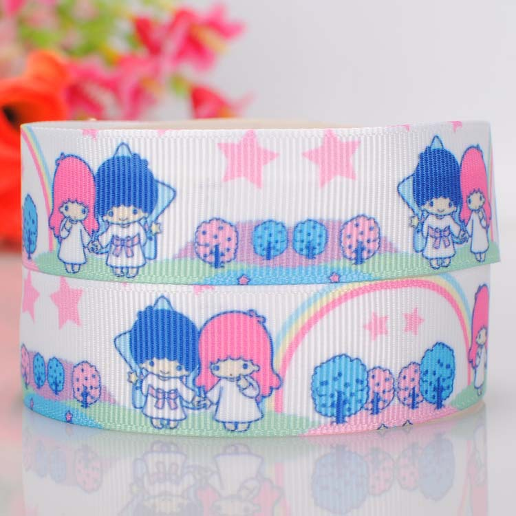 "50yards 7/8""(22mm) Rainbow twins holding hands under the stars printed DIY grosgrain ribbon gifts(China (Mainland))"