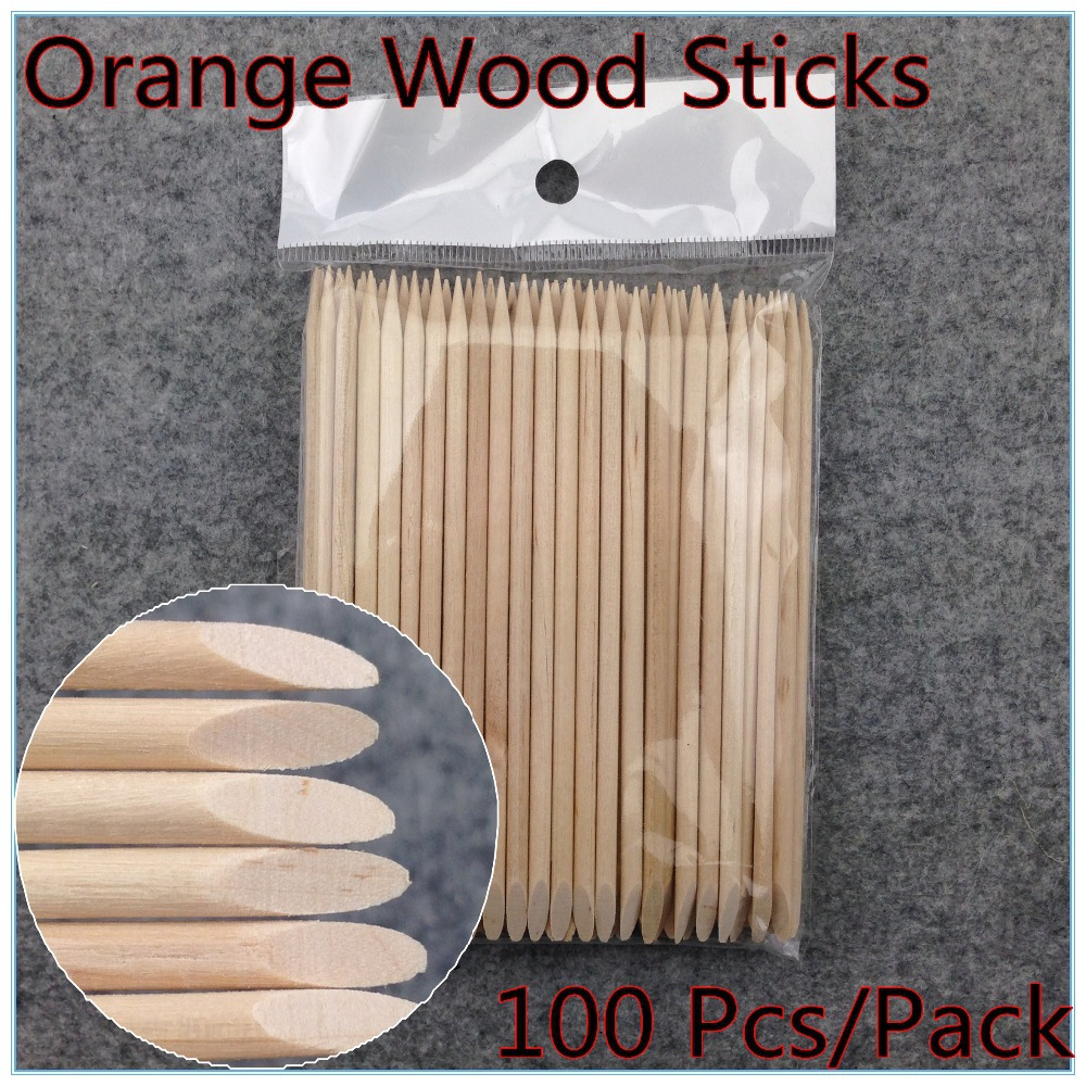 100X Nail Art Design Orange Wood Stick Cuticle Pusher Remover Manicure Care Free Shipping NR WS37