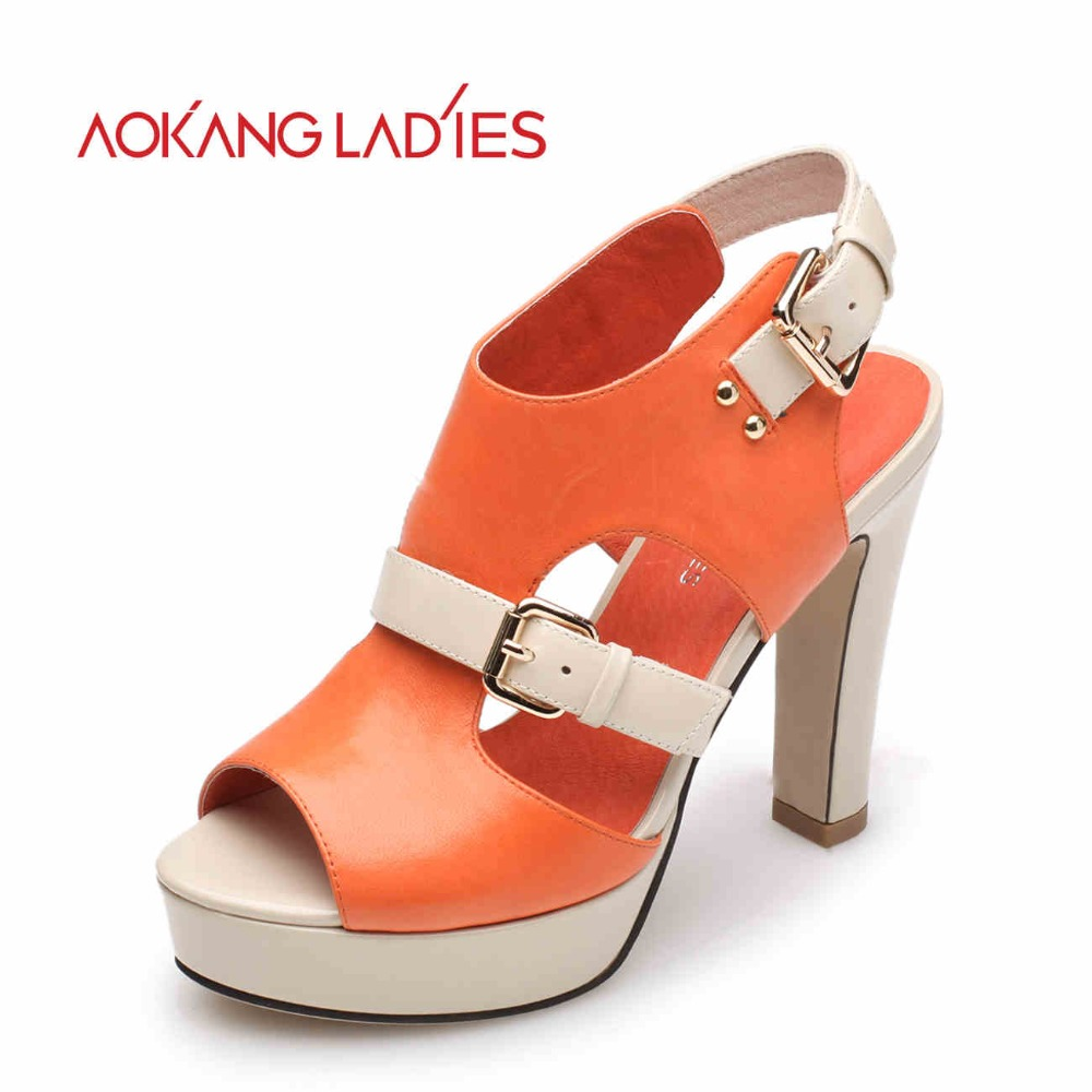 Aokang 2016 Spring New Arrival Women sandals High Heels Sandals women Summer shoes Fashion Brand shoes woman Free shipping