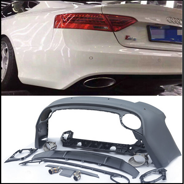 PP RS5 rear bumper with exhaust pipe rear spoiler rear diffuser etc auto body kits bodykits for Audi A5 S5 2008-15 change to RS5(China (Mainland))