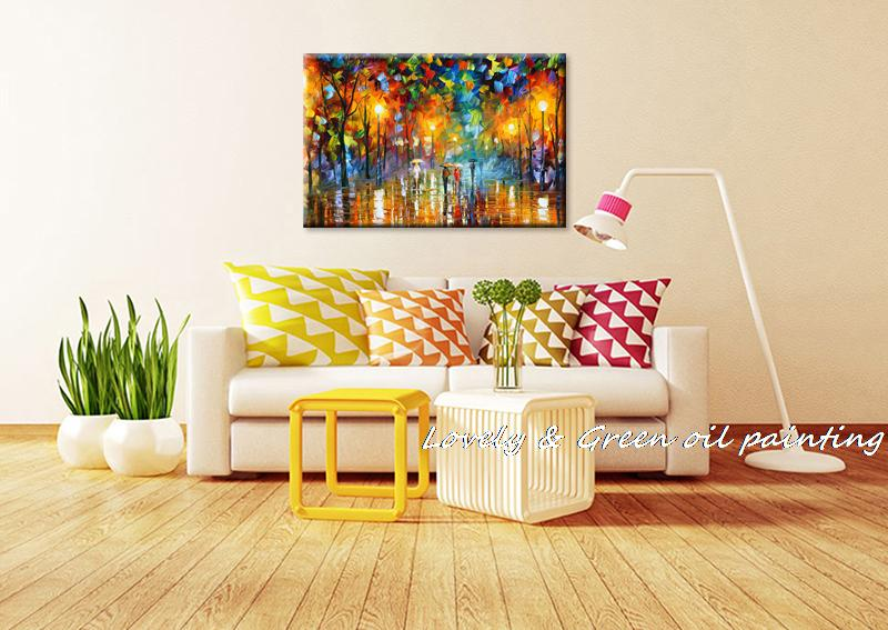 100% Hand-painted Landscape Oil Painting Lovers in street Abstract ...