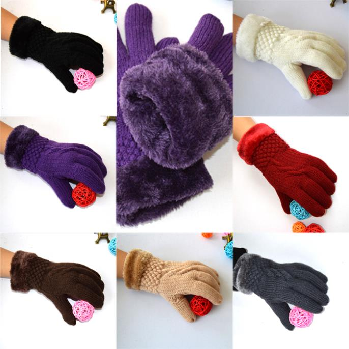 Lady Girls Soft Warm Winter Thick Knitting Mittens Comfort Fur Lining Gloves CC(China (Mainland))