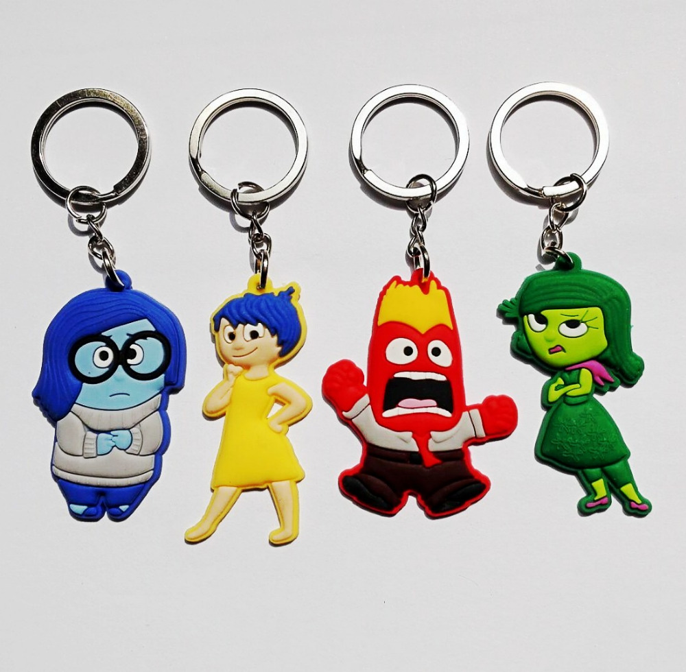 4pcs Inside out minions Hot Cartoon PVC 2D Keychains Pendants Keyrings Charms Bags Tag Accessories Kids Party Gifts(China (Mainland))