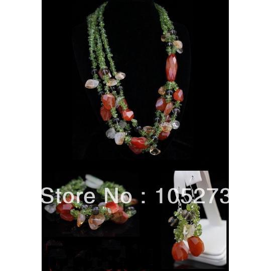 Здесь можно купить  New Arriver Gem Stone Jewelry Set Natural Peridot Citrine Carnelian Smoky Quartz Necklace Bracelet 925 Silver Earrings Free Ship  Ювелирные изделия и часы