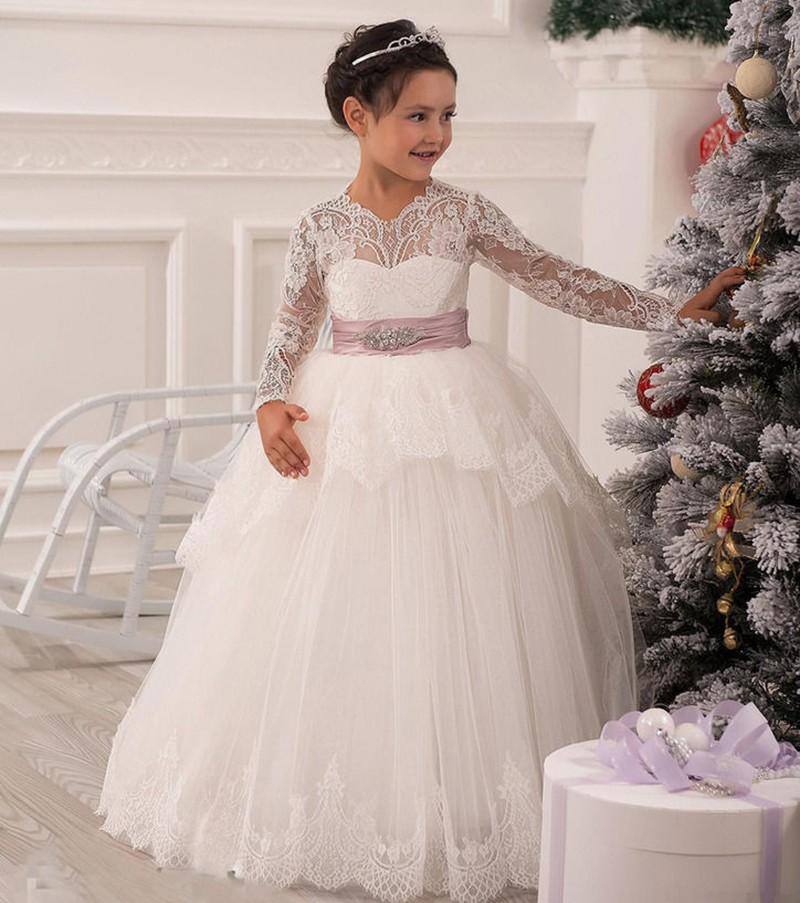 Долго кружева рукав рождество кружева платья выдолбите пола с бантом створки принцесса бальное платье торжества платье-продажи ребенка