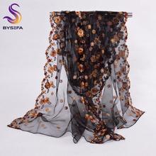 Elegant Black Long Scarves New Design 100%  Pure Silk Organza Silk Scarf Printed 200*60cm Brand Embroidery Ladies Scarves Wraps(China (Mainland))