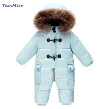 холодные зимние костюмы детскую одежду одежда для новорожденных мальчиков тепло верхней одежды меховой утка водонепроницаемые теплый комбинезон детский мальчик комбинезоны зима унисекс полиэстер ползунки флисовый (China (Mainland))