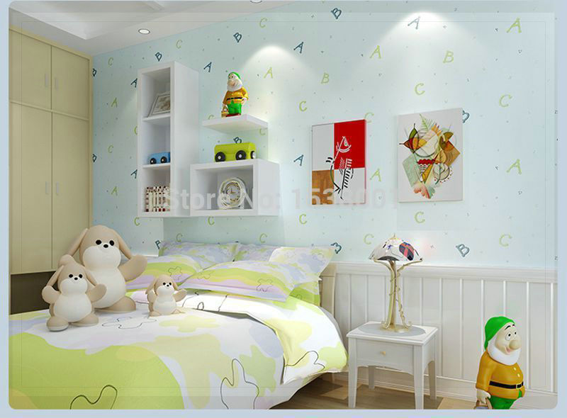 Puzzle ABC Kids Bedroom Light Blue Non-woen Wallpaper for Children's Bedroom wallpaper plaid(China (Mainland))