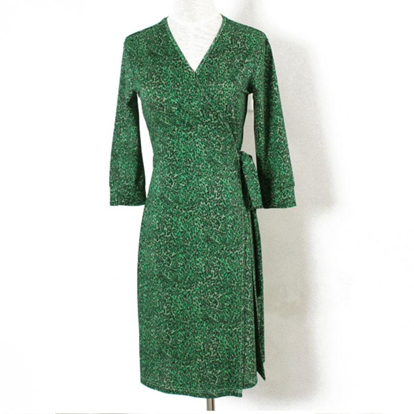 Women V-Neck Green Grass Print Wrap Dress 2016 Robe Sexy Courte Summer Vacation Slim Beach Dresses(China (Mainland))