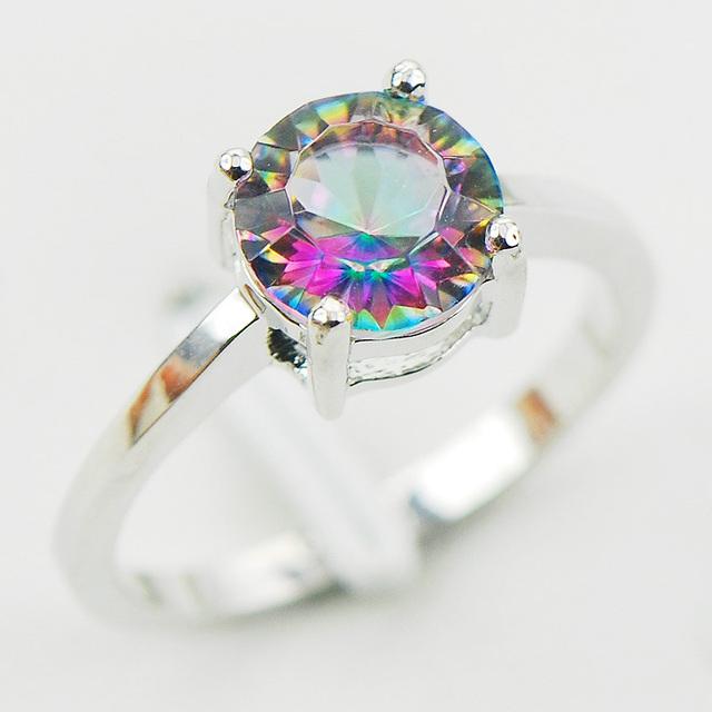 Вогнутой вырезать радуга мистик топаз 925 серебряная свадьба ну вечеринку привлекательный ...