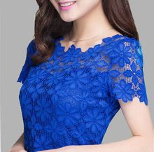 2015 New Short Sleeve Tee Shirt Top For Women Clothing Women Lace Blouse Sexy Floral Sheer Blouses M-5XL  Free shipping(China (Mainland))