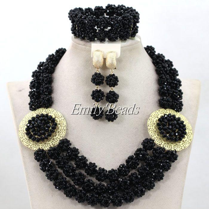 Popular Costume African Jewelry Sets Black Nigerian Beads Wedding Jewelry Set Luxury Bridal Jewelry Set Free Shipping ALJ193<br><br>Aliexpress