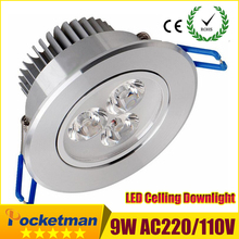 1pcs 9w Led Downlights led down light Aluminum materail 85-265v celing light For Home Lighting Decoration(China (Mainland))