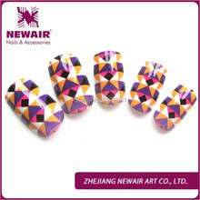 2015 Brand new false nail tips magic colorful geometric mosaic pattern fake nail art artificial fingernails manicure tools(China (Mainland))