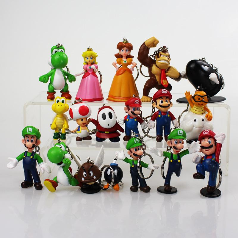 40Sets/lot Super Mario Bros Keychains Mushroom Toad Princess Peach Mario Luigi Keychain Figure Toys 18pcs/set Wholesale <br><br>Aliexpress