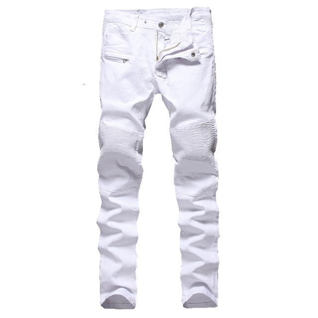 Мужская мода плиссированные белый байкер джинсы Тонкий стрейч джинсовые брюки карандаш ...