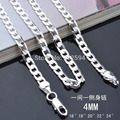 16 24INCHES Free shipping Beautiful fashion Elegant silver plated CUTE 4MM chain pretty Girl Necklace Can