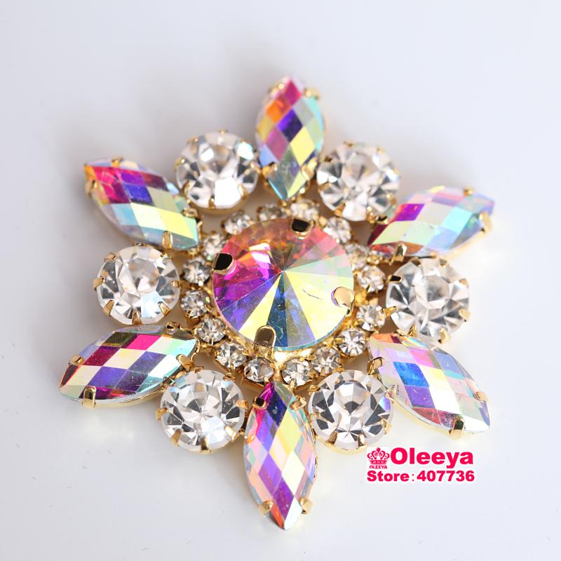 5x5cm Clear Crystal Navette Round Sewing On Rhinestone Applique 1 pcs Gold Base Wedding Dress Y3665(China (Mainland))