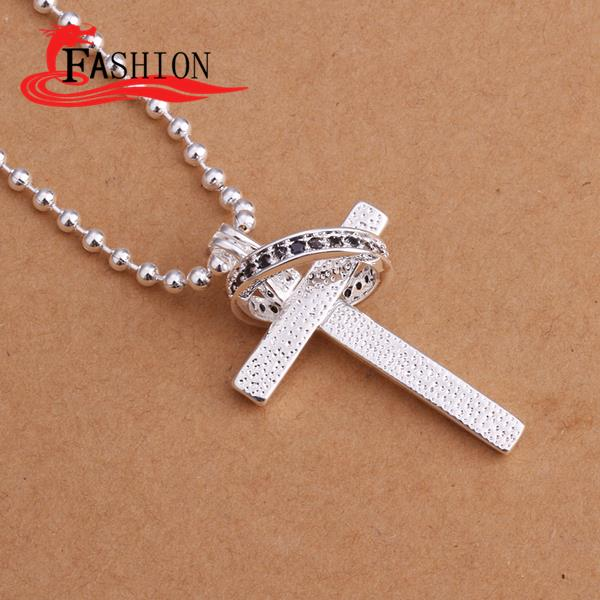 925 Pure Silver Fashion modeling natural zircon cross pendant silver necklace 2015 best friends necklaces pendants(China (Mainland))