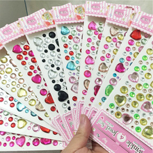 stickers Mix Round and heart-shaped Crystals Rhinestones DIY Scrapbooking acrylic Decal Decor Laptop Stickers Accessories