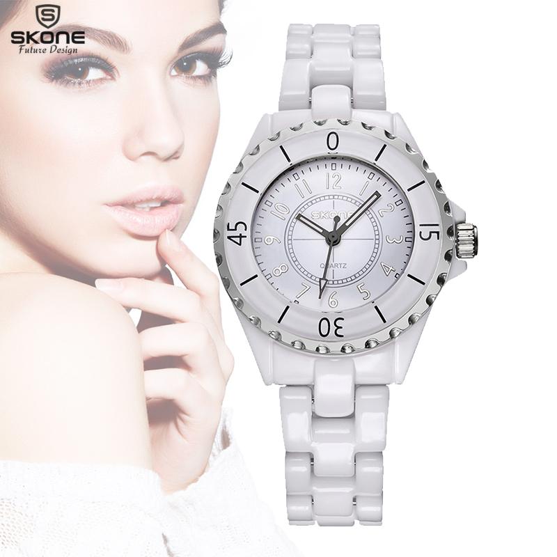 SKONE Original Brand Fashion Women's Watches With Rose Gold Bezel & White Faux Ceramic Watchband Quartz Wristwatches for Ladies(China (Mainland))