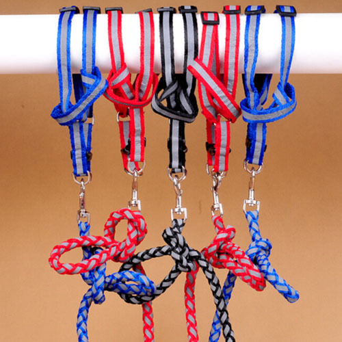 Reflective dog leash and harness for safety in night black blue red color reflective dog pet leads(China (Mainland))