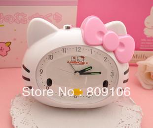 wholesale/retail, free shipping,Hello kitty alarm clock cartoon mutebird music alarm clock15*12*11cm(China (Mainland))