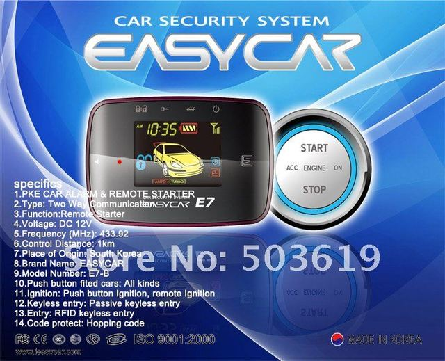 Free shipping by DHL Two way Car alarm Easycar E7-B Two way Car alarm with TFT remote, PKE , push start , remote start
