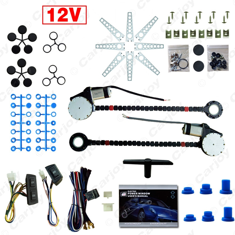Car Auto Universal 2-Doors Electric Power Window Kits with 3pcs/Set Switches and Harness #CA902(China (Mainland))