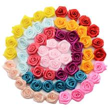 100pcs/lot Handmade 10mm Satin Rose Ribbon Rosettes Fabric Flower DIY Wedding Decor Bow Appliques Craft Sewing Accessories(China (Mainland))