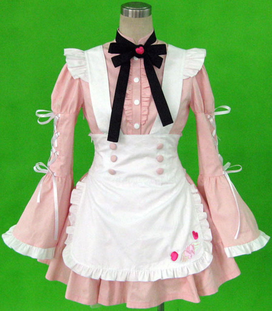 Pink Long Sleeves Cotton Maid Uniform Dress Halloween Cosplay CostumeОдежда и ак�е��уары<br><br><br>Aliexpress