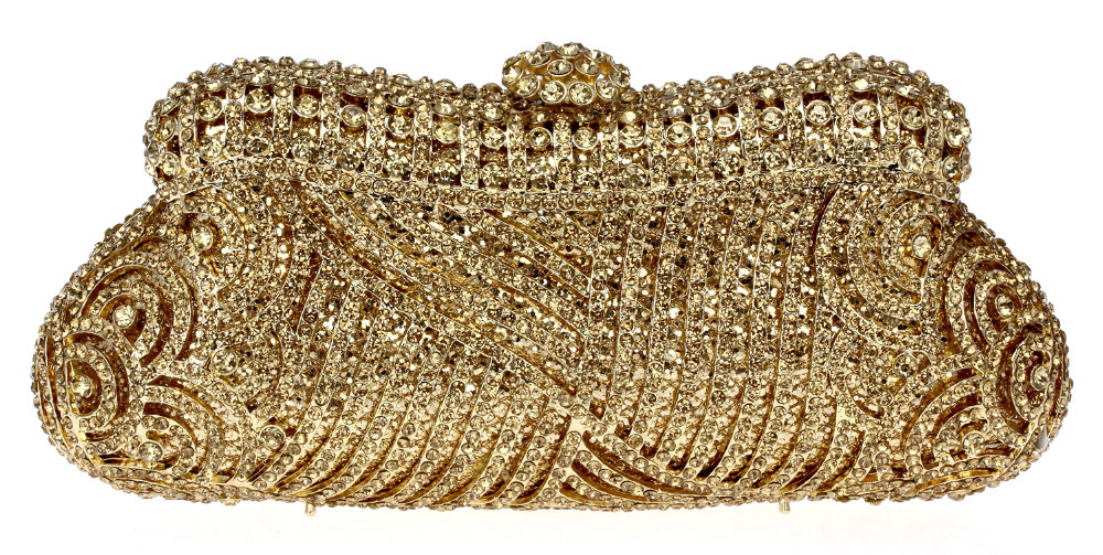 Best Fashion Golden Evening Bag AAA Topaz Grade Crystal Metal Case With Gold Plated Bohemian Style Day Clutch Shoulder Chain Bag(China (Mainland))