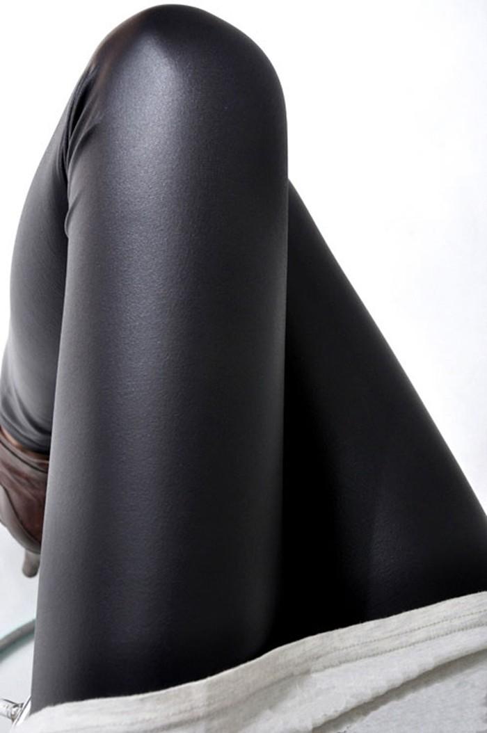 Black women leggings faux leather high quality slim leggings plus size High elasticity sexy pants leggins free size SM9601