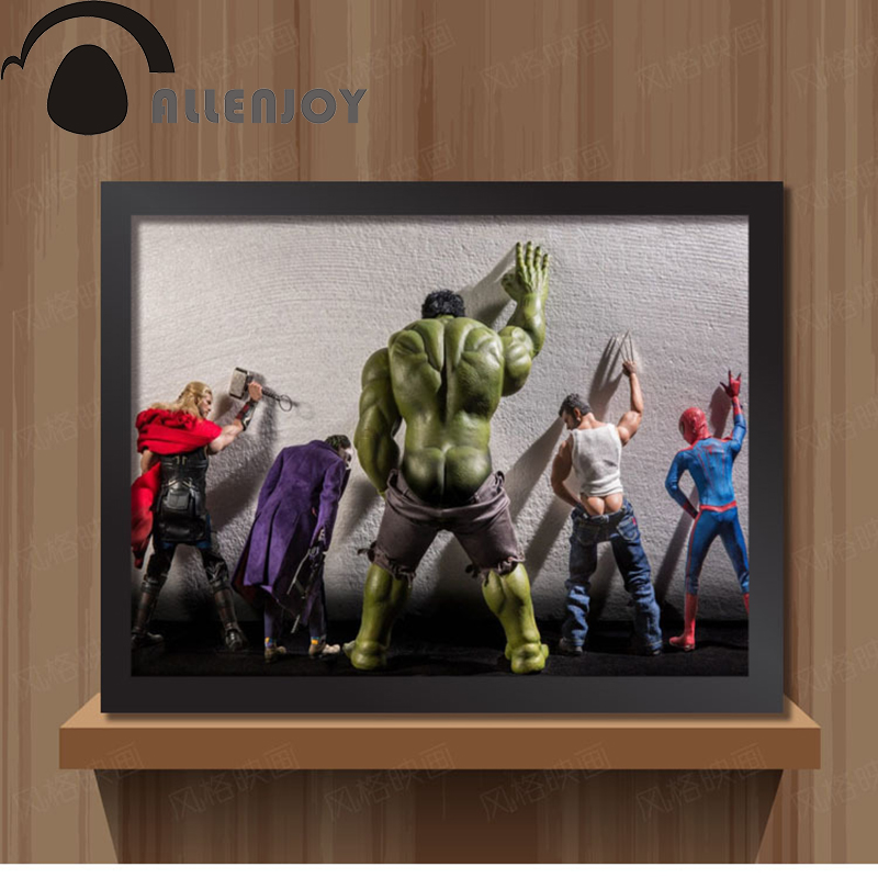 Wc Hulk Thor Joker Spider Man Wolverine Marvel Heroes Juguete divertido Poster Pared Fotos paño Imprimir pintura sin marco decoración(China (Mainland))
