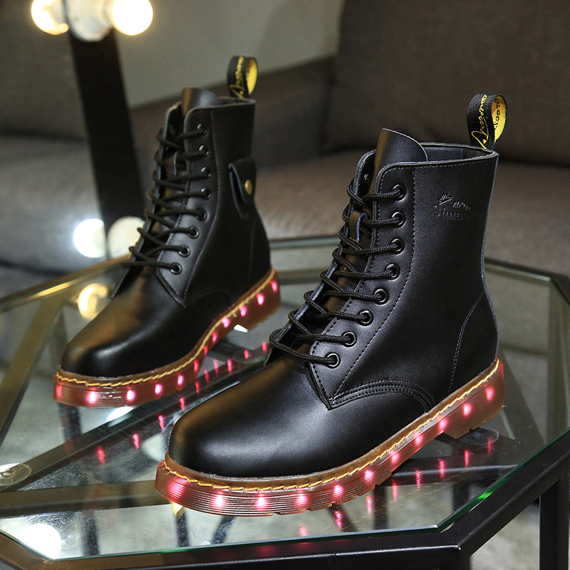 Здесь можно купить  Men women led shoes for adults led leather ankle lights up luminous martin boots chaussures lumineuse led homme femme  Обувь