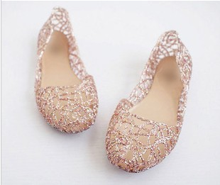 2014 summer breathable shoes crystal plastic jelly shoes cutout flat heel bird nest mesh bird nest female flat sandals
