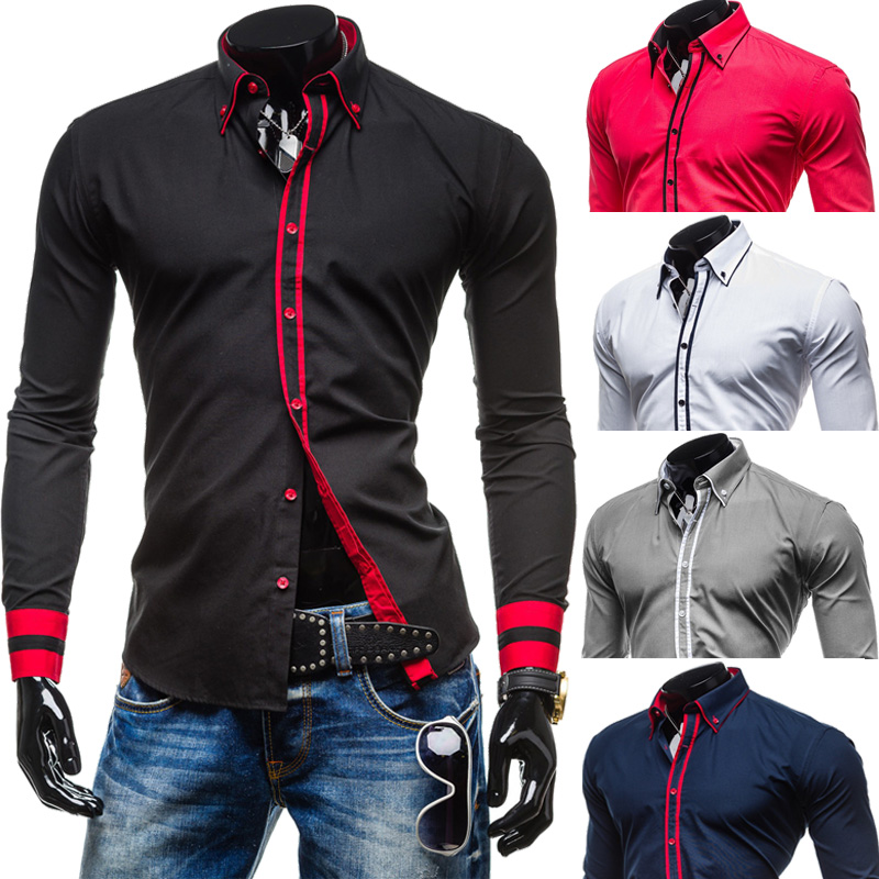 Popular Mens Designer Stripes Dress Shirts Tops Casual-Buy Cheap ...