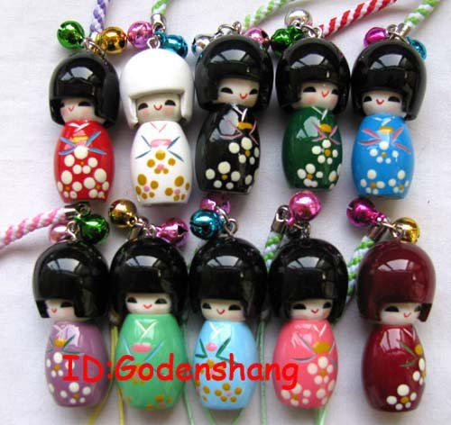 LOT 500 Biggest KOKESHI Doll Mobile Phone charms(China (Mainland))