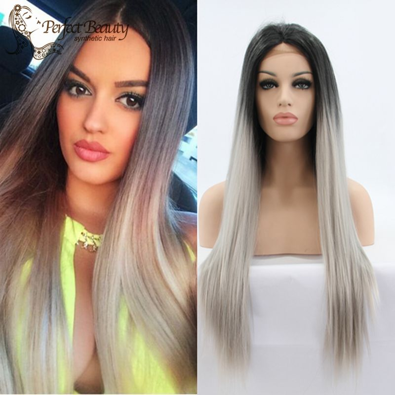 Ombre Grey Lace Front Wig Long Straight Cosplay Dark Roots Grey Hair