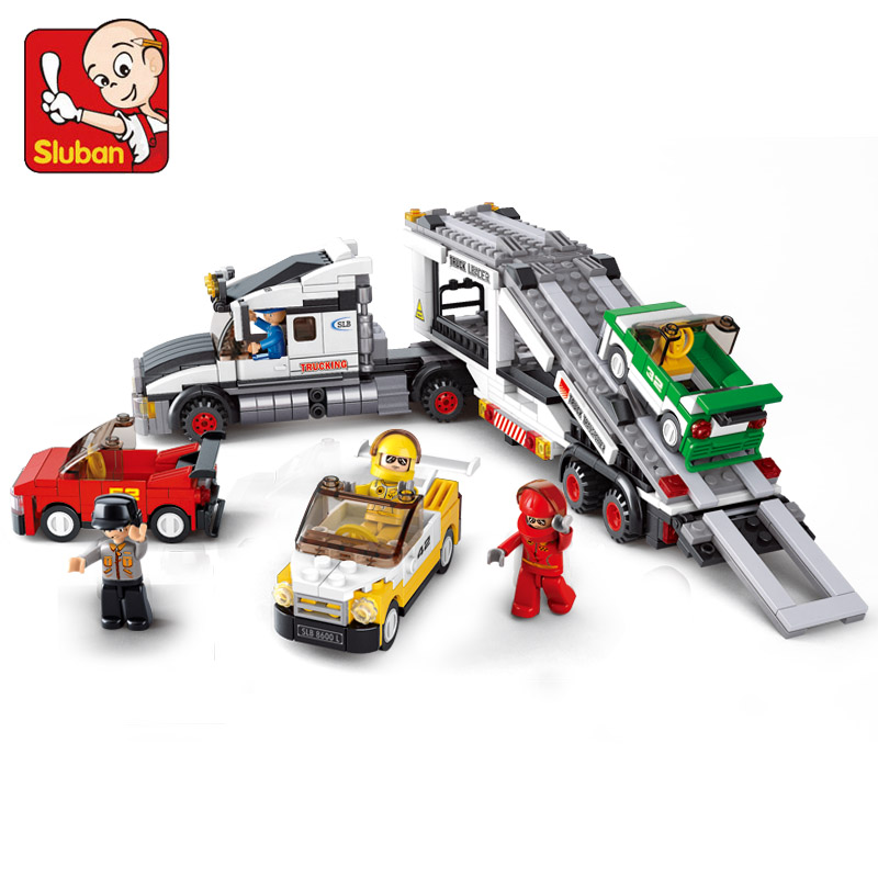 Sluban Auto Transport Truck Plastic Building Blocks Set Transport Aircraft Vehicle Brick Toy Gift Compatible With Lego(China (Mainland))