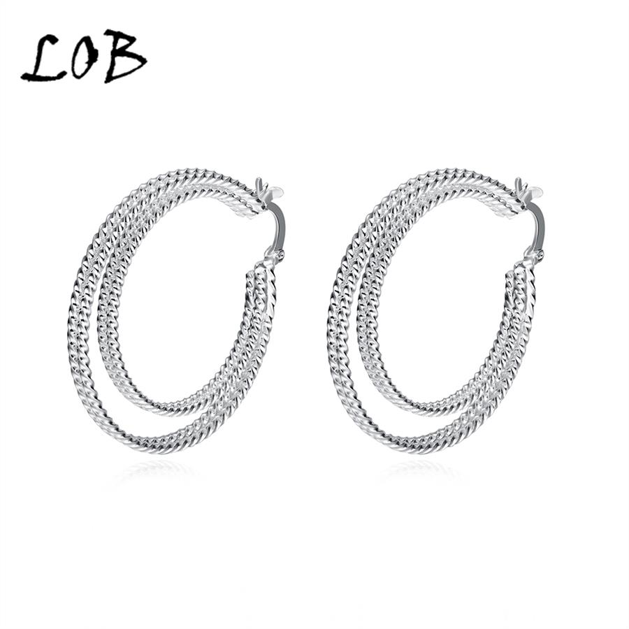 4*3.6 CM Double Layer Twisted Round Silver Plated Hoop Earrings For Women Female Silver Earring Drop Shipping E717(China (Mainland))