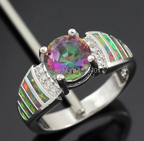Wholesale Retail Orange Fire Opal Rainbow Topaz for lover women Ring Size6 7.5 8.5 OR688(China (Mainland))