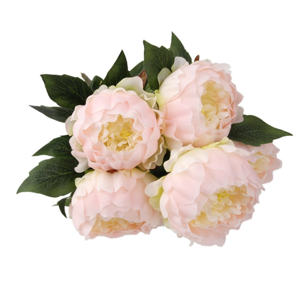 Hot Vintage Artificial 5-Head Peony Silk Flower Wedding Party Decor (Light Pink)(China (Mainland))