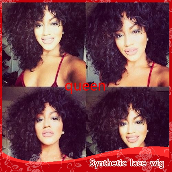 2016Top 20 Inch Kinky curly synthetic Front Lace Wig,High Quality Heat resistant Fiber glueless cap with baby hair,natural black