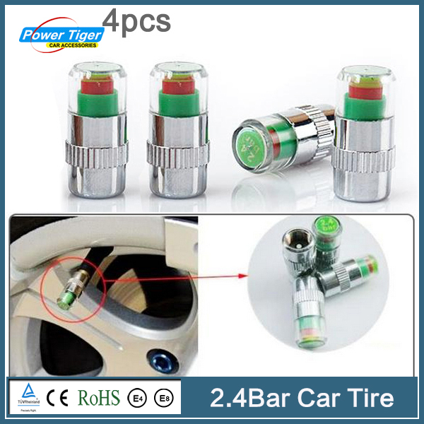 New Arrival Car Styling Universal Visiable Car Tire Caps Auto Auto Tire Pressure Monitor Valve Stem Caps Indicator 2.4 Bar(China (Mainland))