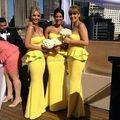Wholesale Stunning Strapless Ruffles Yellow Maxi Long Mermaid Bridesmaid Dresses Vestidos de fiesta