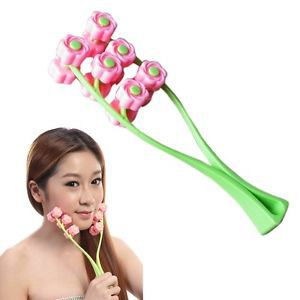 Three Stage Flower Shape Rolling Slimmer Handy Face Neck Massager H5(China (Mainland))